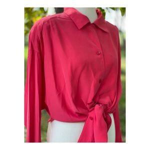 Vintage 90s Coral Silk Liz Claiborne Blouse Oversized Button Up Boxy